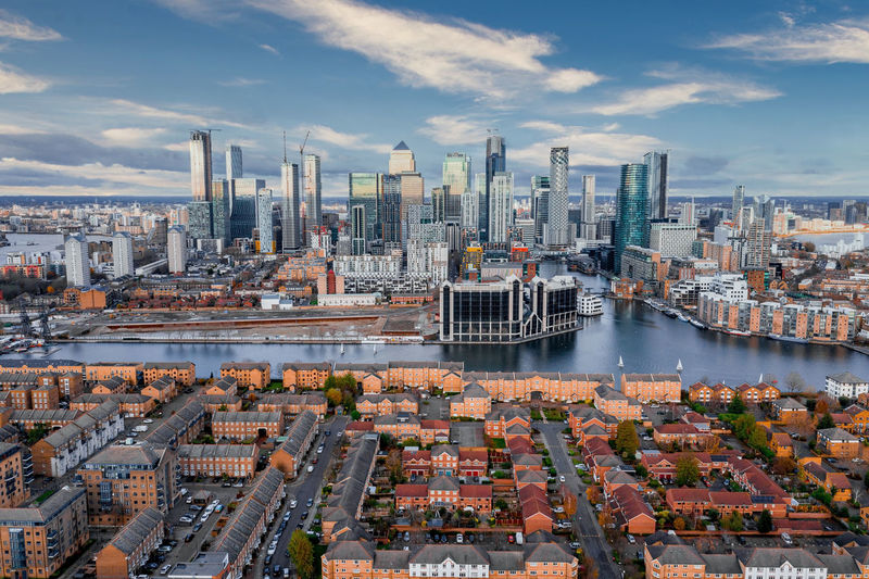 London, england - aerial panoramic skyline view of bank and canary wharf