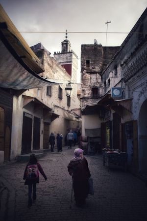 Morocco Architecture Built Structure Building Exterior Real People Walking Rear View Full Length Lifestyles Women Town Men Outdoors Day People
