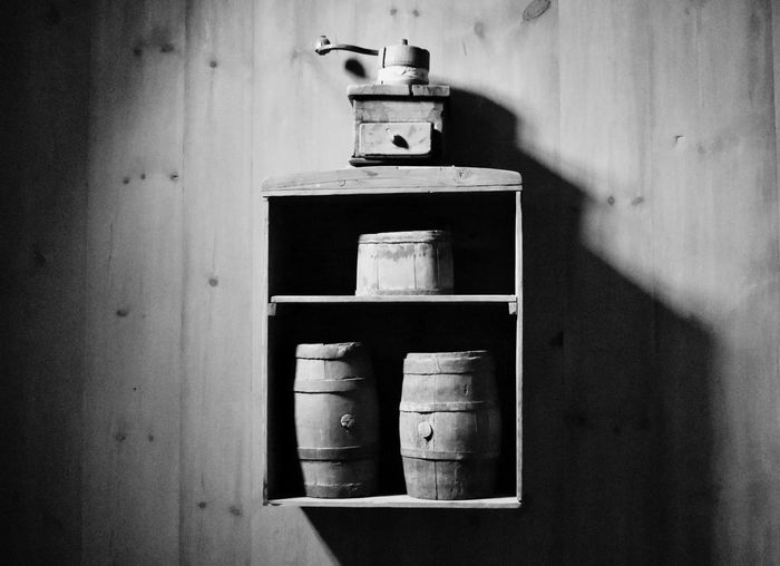 Coffee Mill Barrel Monochrome Backgrounds Blackandwhite Indoors  No People Wall - Building Feature Close-up Shelf Day Old Still Life Home Interior Domestic Room Wall Shadow Faucet Container