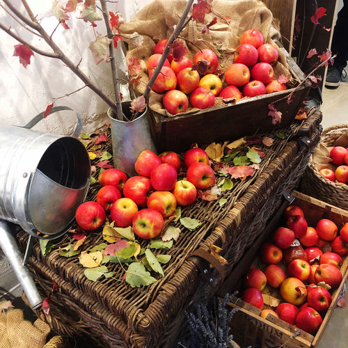 High angle view of apples in basket for sale at market