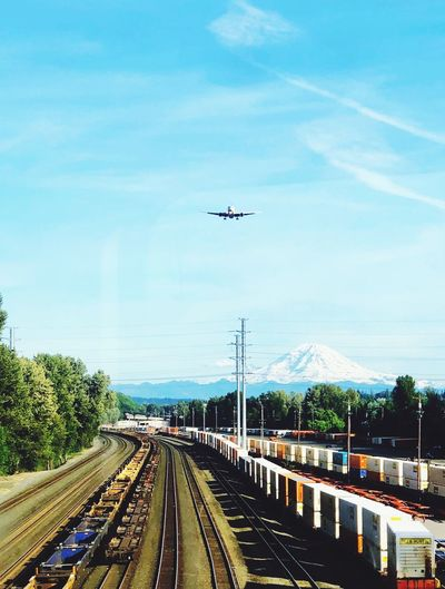 Airplane flying over railroad tracks against sky