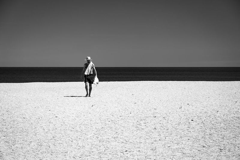 Beaches Beachphotography Blackandwhite Candid Photography Candidshot Emptybeach Manwithahat Streetphotography