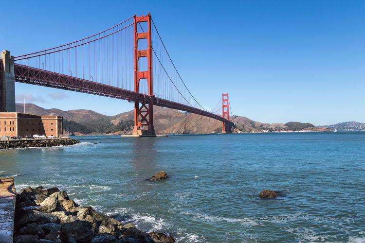 Architecture Bridge - Man Made Structure Built Structure Golden Gate Bridge Outdoors San Francisco Sky Suspension Bridge Travel Travel Destinations Water First Eyeem Photo