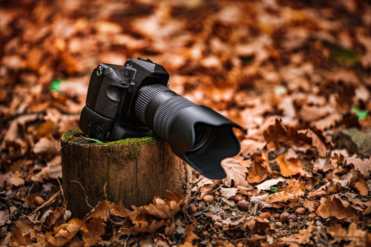 Camera on field during autumn