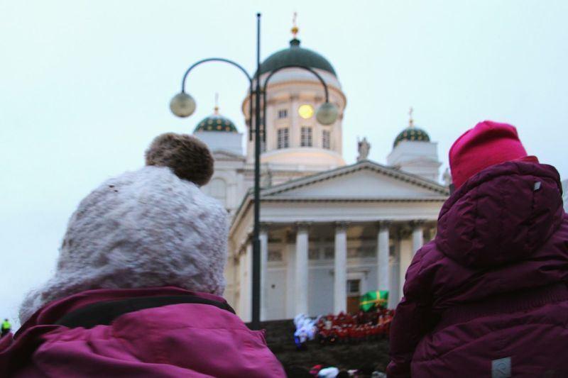 Christmastime At Senaatintori / Senate Square Cathedral Helsinki Finland Crowd Christmas Time Christmas Around The World