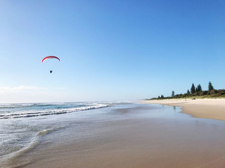 Sea Beach Adventure Nature Clear Sky Horizon Over Water Sand Outdoors Beauty In Nature Sky Day No People Parachute Kite Paragliding Parasail Parasailing Paraglider Paraglide Paragliding With Motor Paragliding Over Water Paragliders' Paradise
