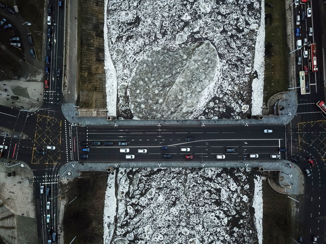 River takes ice out of Vilnius Aerial Ice River Transportation No People Day Built Structure Architecture Outdoors