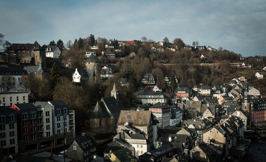 Monschau, Germany Monschau Monschau Eifel Germany Germany Building Exterior Architecture Built Structure City Building Residential District Cityscape Sky High Angle View Crowded Crowd Day Cloud - Sky Town Roof Community Tree Outdoors TOWNSCAPE Settlement