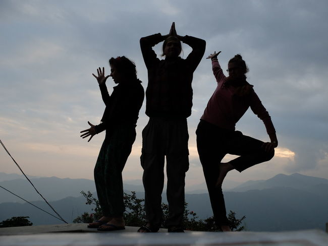 Collaboration Nepal Silhouette Adult Cloud - Sky Dancing Day Fools Friend Full Length Leisure Activity Light And Shadow Men Mountain Nature Outdoors Outline People Playing Real People Self Timer Shadows Sky Togetherness Women