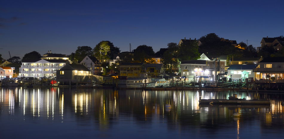 Boothbay Harbor Maine Building Exterior Illuminated Ocean Old Town Outdoors Reflection Sea Sky Tranquility Water Waterfront