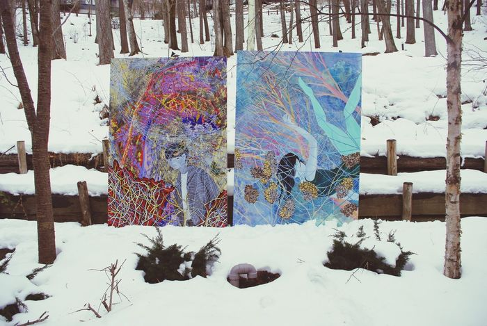 Paintings, installation view Painting Acrylic Painting Art Nature Snow