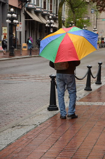 Man Rain Rainy Days Back Of Man Colorful Stay Dry Streetphotography Umbrella Vancouver BC