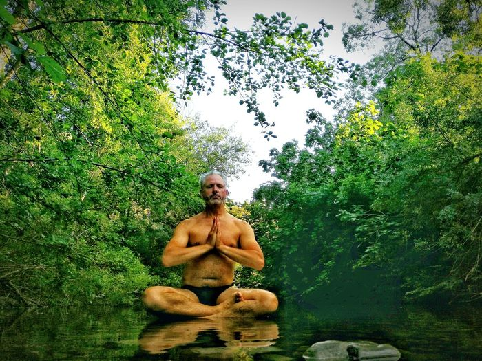 Portrait of shirtless man sitting in forest against sky