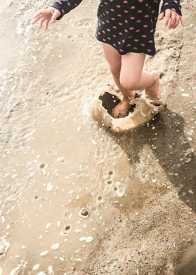 Low Section Of Child On Beach