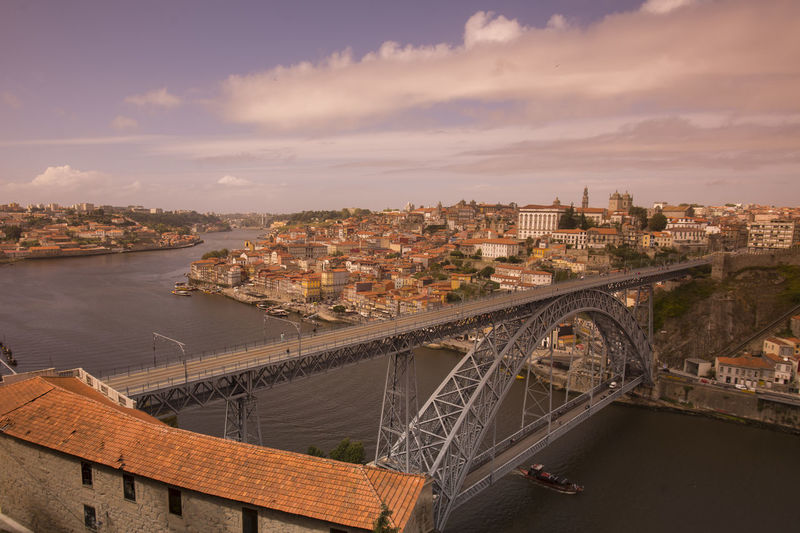 High Angle View Of Dom Luis I Bridge Over Douro River In City