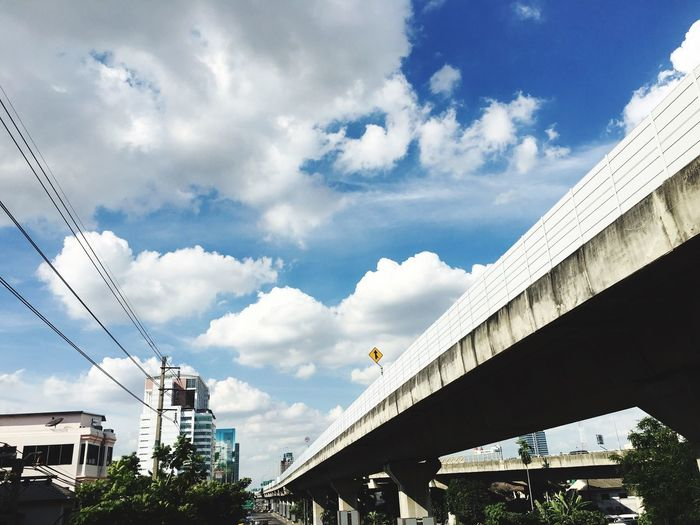 high way Architecture Built Structure Sky Connection Cloud - Sky Low Angle View Bridge - Man Made Structure Building Exterior Transportation Day Outdoors No People City Tree