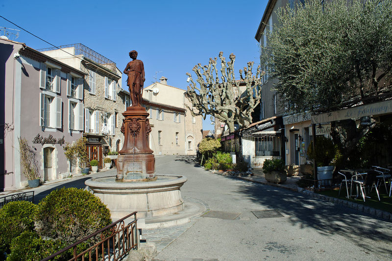 Architecture Building Building Exterior Built Structure Composition Day Exterior Façade France Historic History House Leading Main Square Mougins Mougins France Narrow Old Outdoors Perspective Statue