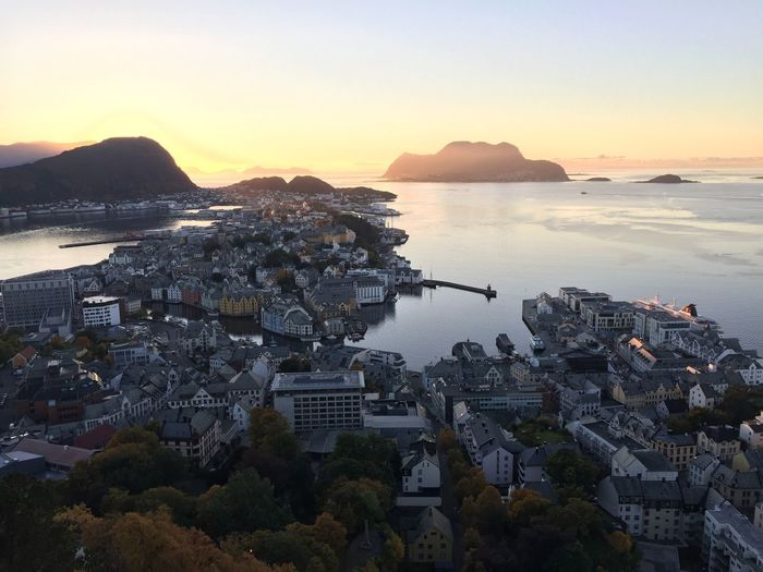 Betterlandscapes Norway🇳🇴 Alesund Sea High Angle View Sunset City Sky Outdoors No People EyeEmNewHere