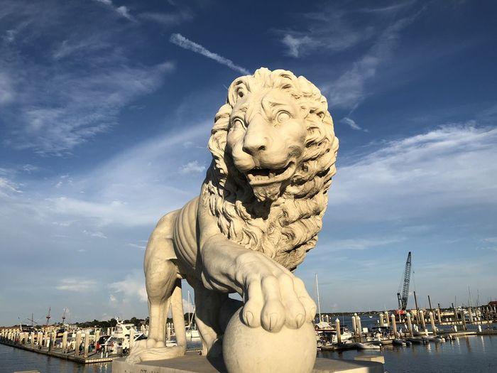 Bridge of lions statue. saint augustine, florida usa