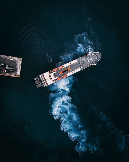 Pulling into Port Drone  Greece Ferry Mavic Nature Transportation Water Mode Of Transportation Motion Air Vehicle Outdoors Nautical Vessel No People Travel Sea Flying