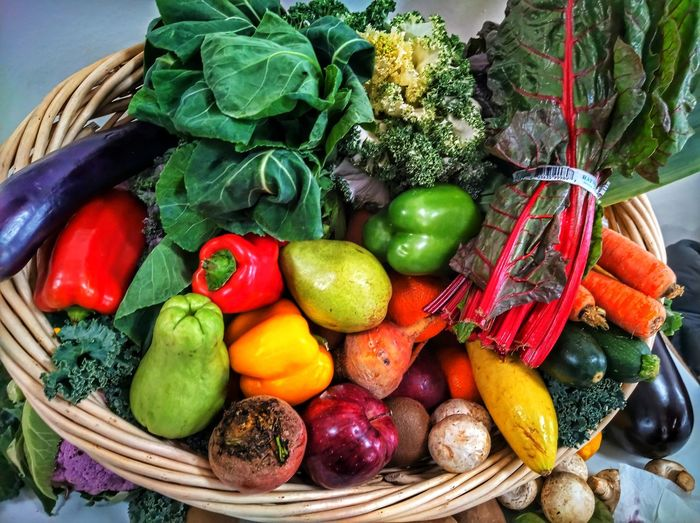 High angle view of fruits and vegetables in basket