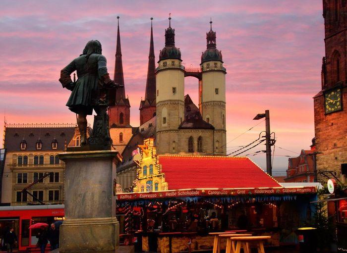 Christmas Hansestadt Halle Weihnachtsmarkt Salzstadt Händelstadt Architecture Building Exterior Built Structure Sky Place Of Worship Sunset
