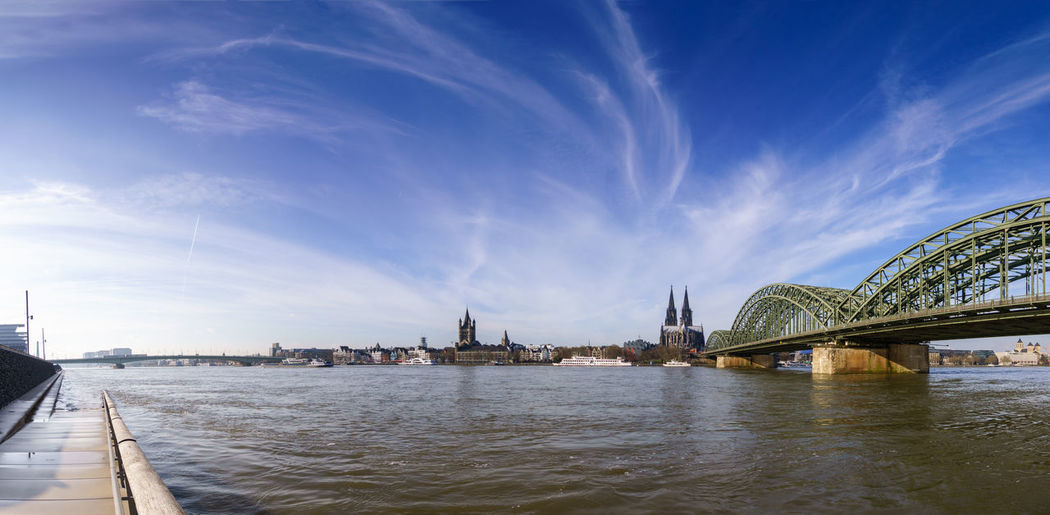 Panorama shoot at daylight of Cologne with Great St. Martin Church, Cologne Cathedral, Hohenzollern Bridge and the Rhine river, Germany. Cathedral Church Cologne Panorama Rhine Brige Germany Hohenzollern  Hohenzollernbrücke Landmark Rhine River