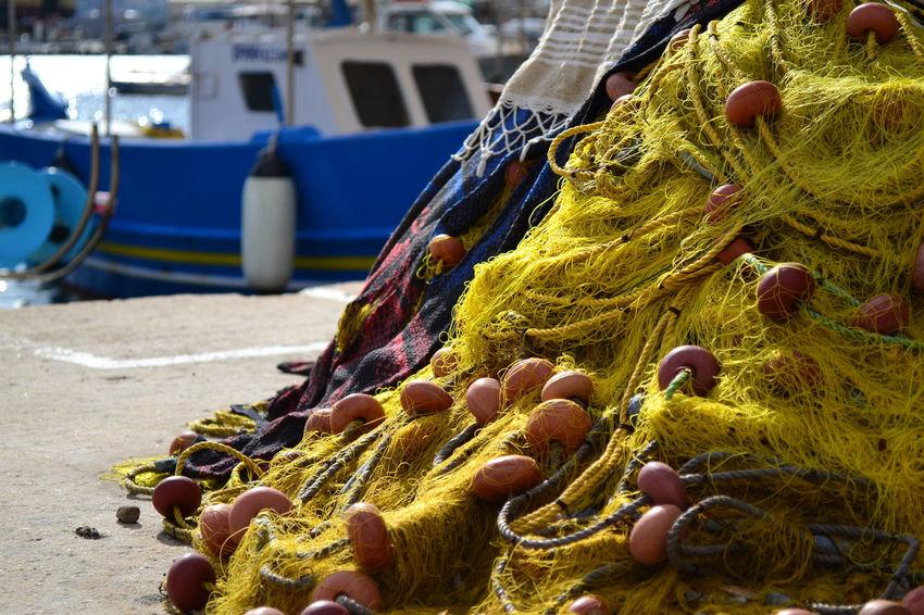 Blue Boat Day Fisher Net Fishing Fishing Boat Fishing Net Greece Nautical Vessel Net Outdoors Sea Syros Island Transportation Yellow Color