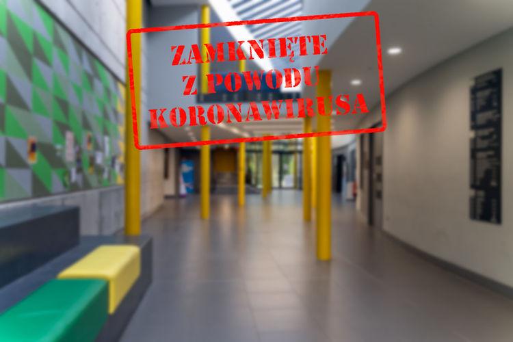 Information sign on illuminated ceiling
