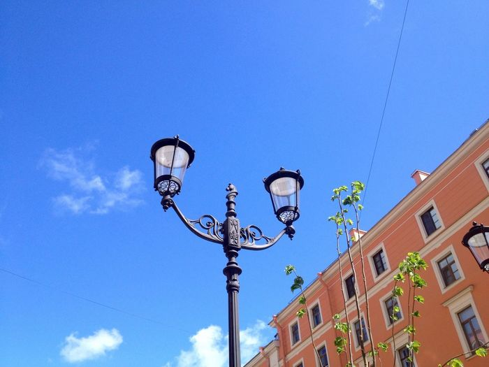 Lighting Equipment Street Light Low Angle View Blue Street Lamp Gas Light Outdoors Building Exterior Architecture Sky No People Day Built Structure