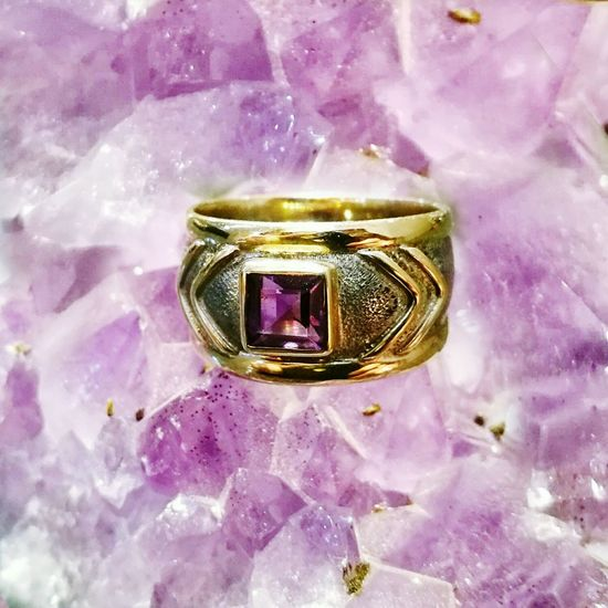 Amethyst Gold And Silver  Silver Jewelery Gold Jewelry One Of A Kind