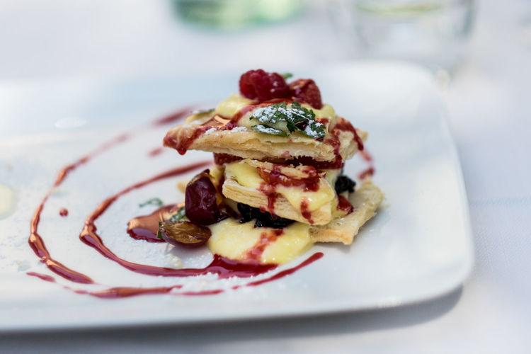 Dessert Italian Dessert Cream Dessert Food Food And Drink Italy Plate Raspberry Ready-to-eat Sweet Food Temptation