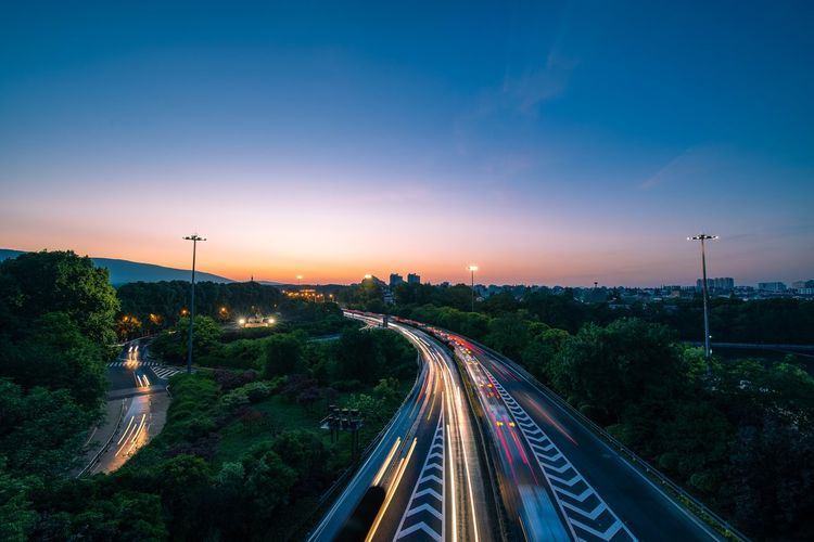 The Highway in Nanjing City at Dawn Sky Transportation Road City Motion Street Nature Long Exposure Mode Of Transportation Car Outdoors Sunrise Highway Dawn Mountain Trail Morning Twilight