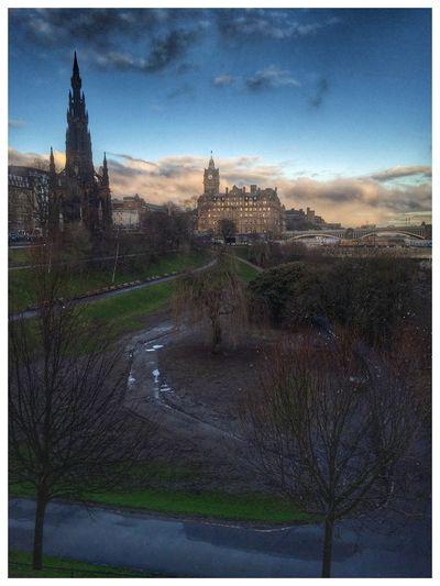 City Edinburgh HDR Hdr_Collection Scott Monument Princes Street Gardens Blue Blue Sky Clouds And Sky Tree Trees EyeEm Best Shots EyeEm Gallery Showcase: February Eye4photography  EyeEm