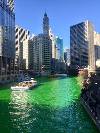 St Patrick's Day, green river River Green River St Patrick's Day Chicago St Patricks Day Building Exterior Built Structure Architecture Building City Office Building Exterior Tall - High Skyscraper Water Sky Tower Waterfront Modern Day No People Travel Destinations Cityscape