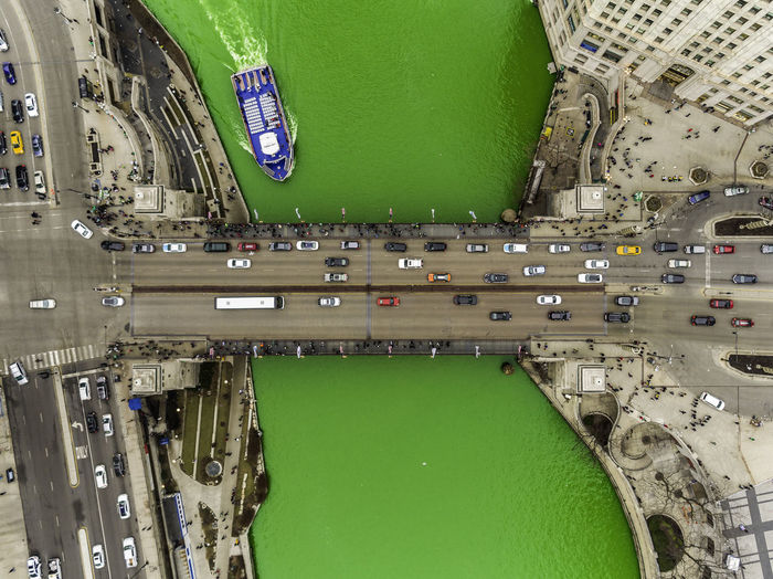 Green River Green Color High Angle View Architecture Building Exterior City Built Structure Mode Of Transportation Aerial View Transportation Day Water No People Sport Directly Above Outdoors Travel Nature Car St Patrick's Day Chicago River