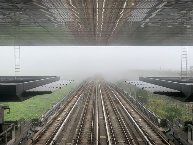 Rail Transportation Track Railroad Track Public Transportation Transportation Architecture Diminishing Perspective Mode Of Transportation Day No People Built Structure High Angle View The Way Forward Travel Outdoors Direction Nature Station Railroad Station Train Train - Vehicle Ceiling