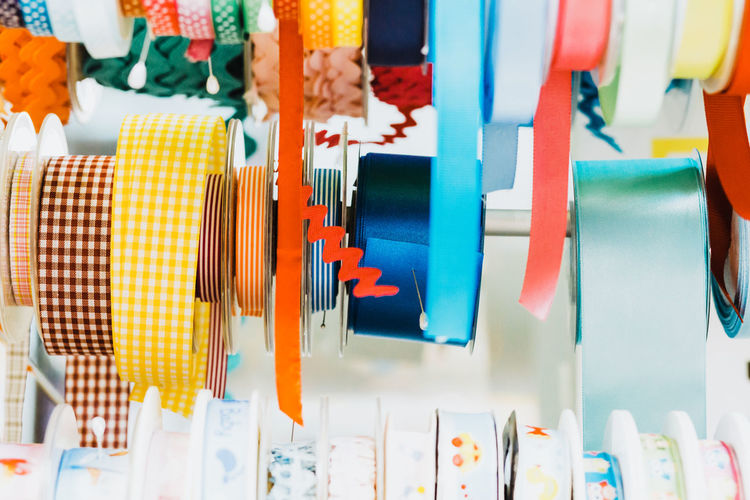 DIY Ribbon Sewing Arrangement Choice Close-up Collection Colorful Day For Sale Hobby Indoors  Large Group Of Objects Multi Colored No People Ribbon - Sewing Item Variation