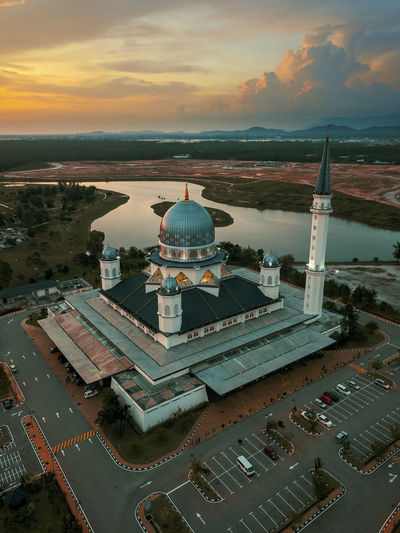 Abdullah Fahim Mosque Cityscape City Sea Sunset Water Aerial View High Angle View Architecture Sky