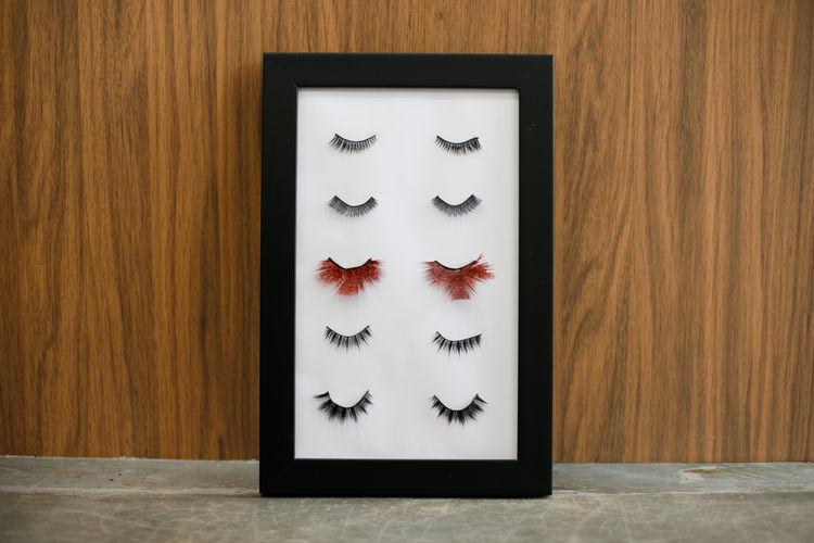 Close-up of false eyelashes in frame