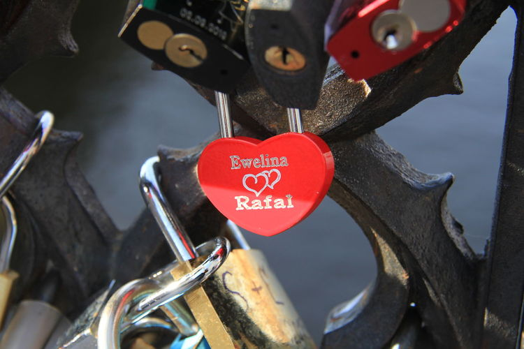 Heart Shape Positive Emotion Red Love Emotion Text Hanging Padlock Lock No People Communication Close-up Metal Safety Security Western Script Protection Outdoors Love Lock Message Valentines Valentine's Day  Eternity Day Bridge