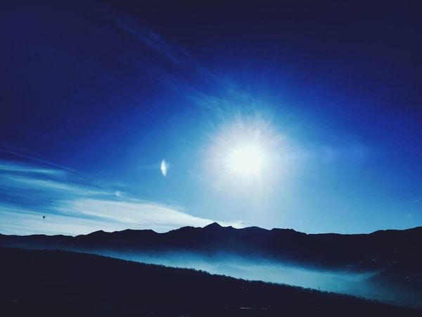 Sun Cloud Sky Smoke Nature Beauty In Nature Mountain No People Outdoors Moon Sky Landscape Astronomy Scenics Night Space