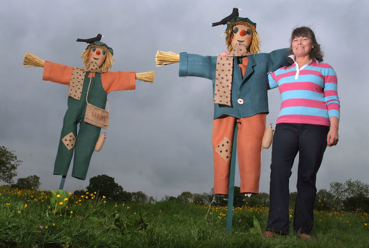 Polly Kettle makes scarecrows Agriculture Country Life Countryside Farm Farming Field Fields Figure Figures Human Figures Outdoors Rural Scarecrow Scarecrows