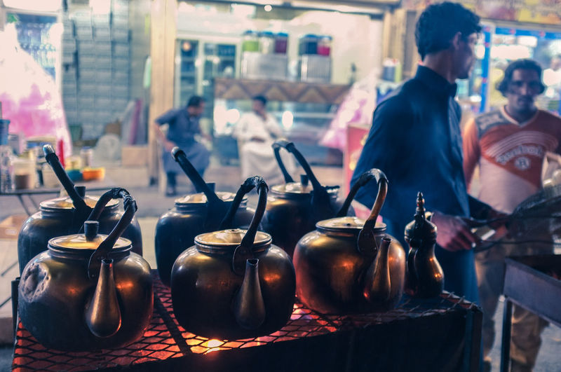 Tea prepared in kettles at stall