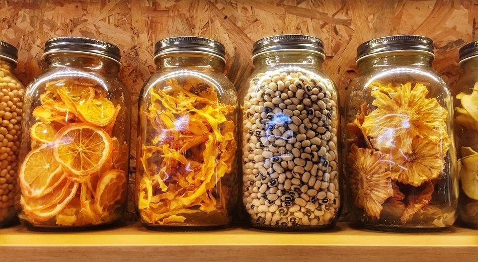 Close-up of preservatives in bottles