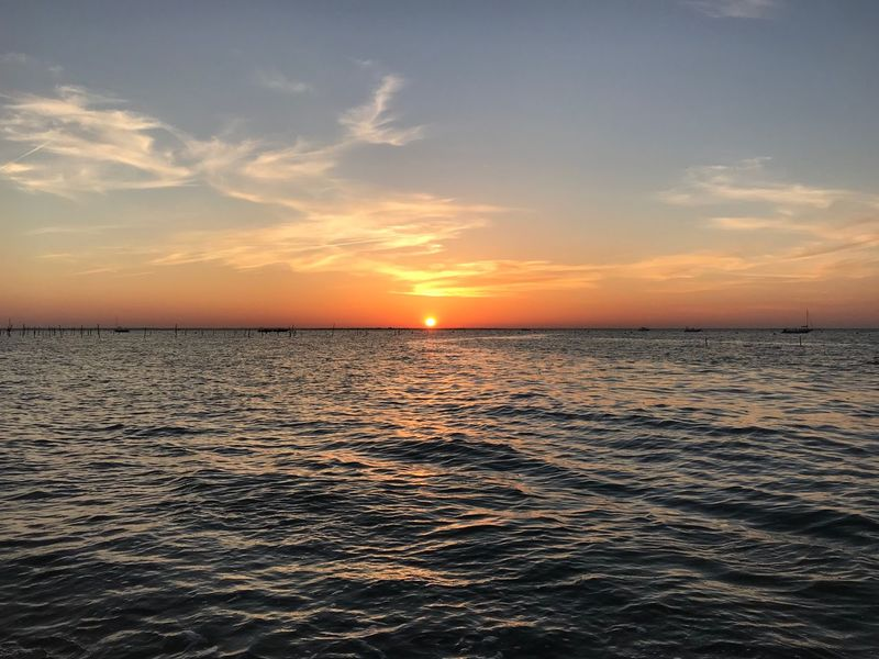 Sky Sunset Water Sea Scenics - Nature Beauty In Nature Tranquility Tranquil Scene Horizon Orange Color Cloud - Sky Horizon Over Water Idyllic Waterfront Nature No People Non-urban Scene Outdoors Land