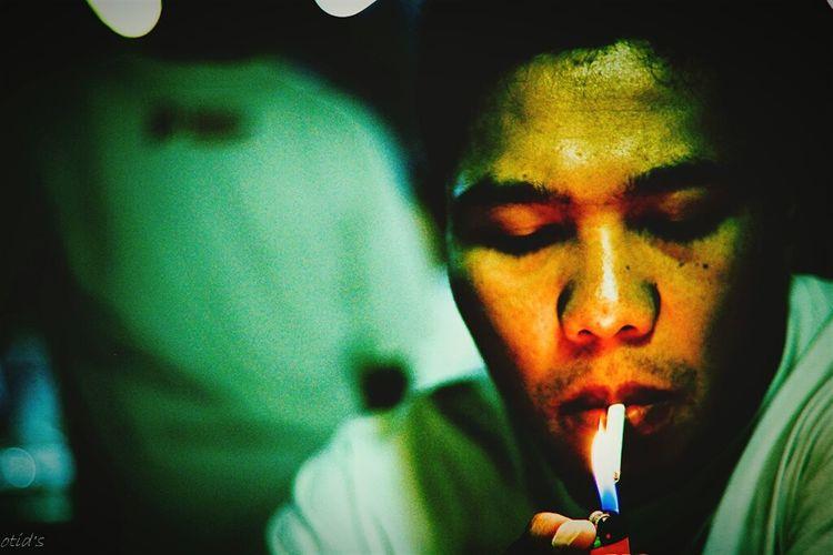 Self Portrait smoke nightlife