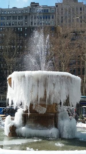 Winter In New York New York Big Apple Snow In NYC Central Park, New York Central America Architecture Beauty In Nature Growth Tranquility Water Outdoors Nature Reflection Tree Water Fountain Nyc Park Frozen Moments Frozen Waterfall Frozen Landscape  Ice Crystals Ice Drops...