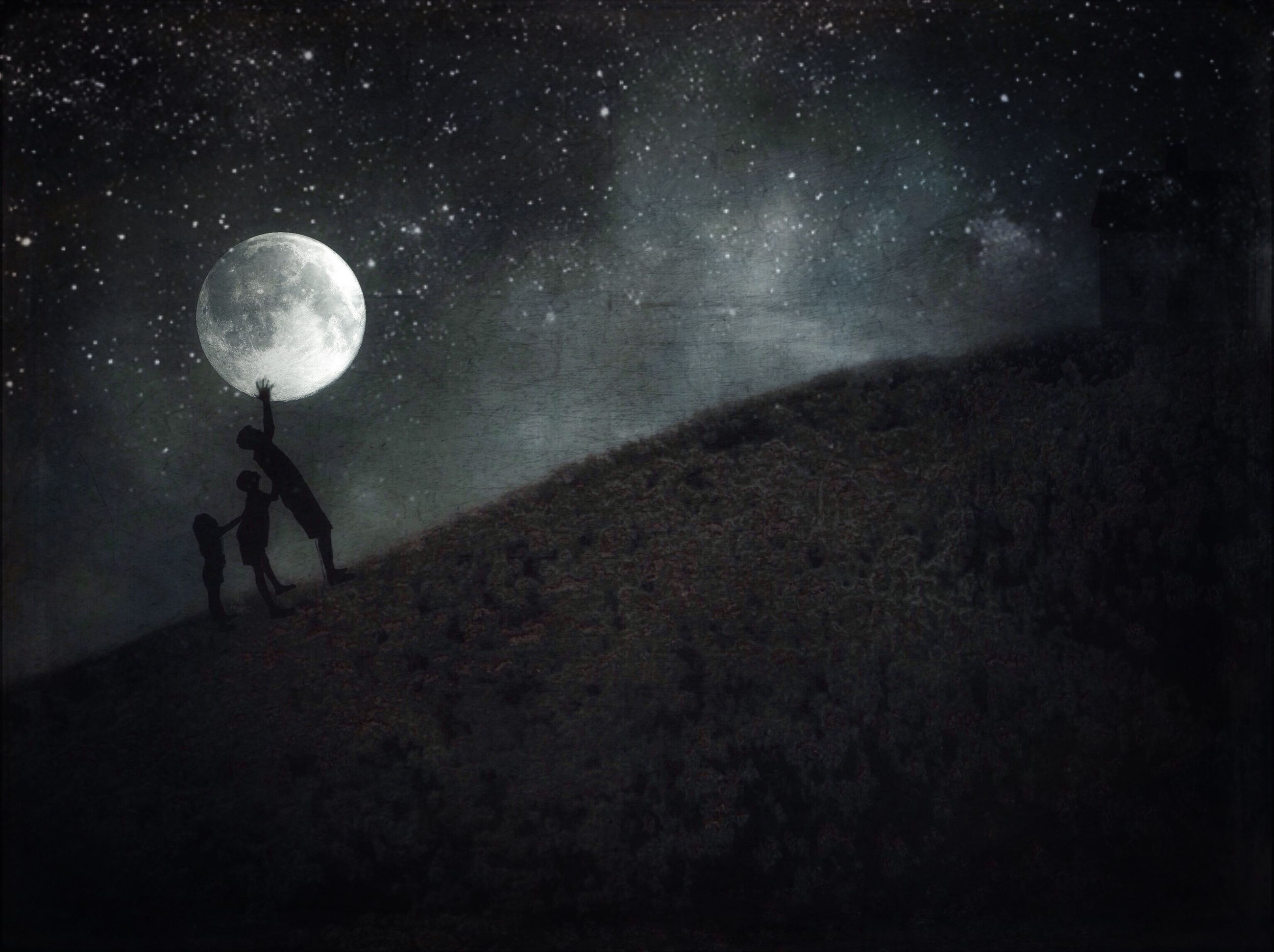night, silhouette, men, lifestyles, leisure activity, full length, exploration, unrecognizable person, dark, sky, standing, astronomy, nature, star field, discovery, walking, illuminated