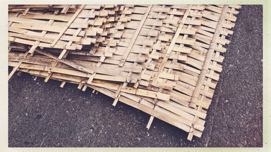 Streetphotography High Angle View Transfer Print Pattern No People Auto Post Production Filter Close-up Day City Directly Above Large Group Of Objects Backgrounds Full Frame Textured  Still Life Wood Street Outdoors Wood - Material Text Wicker